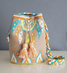 ideas diy bag crochet ganchillo for 2019 Crochet Handbags, Crochet Purses, Mochila Kanken, Mochila Crochet, Tapestry Crochet Patterns, Tapestry Bag, Boho Bags, Knitted Bags, Crochet Accessories