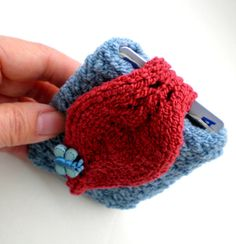 Hand Knit Cuff Wallet / Cozy / Case for MP3 iPods Id by ohmay, $26.00