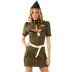 Green Pin Up Army Girl Costume ($27) ❤ liked on Polyvore featuring costumes, green, sexy halloween costumes, sexy pinup costume, shrug cardigan, cardigan shrug and army pin up costume