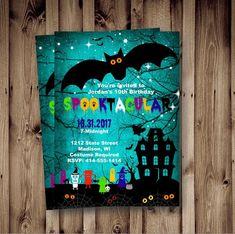 Halloween Birthday Invitations, Birthday Cards, Spooky Halloween, Halloween Ideas, Print Packaging, 10th Birthday, Invitation Design, Party Planning, Boy Or Girl