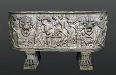 Marble sarcophagus   Around A.D. 100 the Romans began burying their dead in marble sarcophagi rather than cremating them. Very many sarcophagi are furnished with mythological subjects. Here the scene centres on a train of ecstatic maenads, the female followers of the god of wine, who play music and offer a small he-goat.