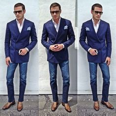 How to look good in jeans. It'll look as good with single-breasted jacket. Patek Philippe, Looks Cool, Men Looks, Cool Style, My Style, Suit And Tie, Sport Coat, Stylish Men, Dress Codes