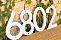 Distressed Aluminum House Numbers- Antique White