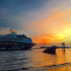 Mein Schiff 1 sailing into the sunset
