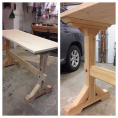 Pub table I made from 2x6, 2x4 and 4x4 dimensional lumber.  Farmhouse style. 44 inches tall, 6 feet long, 28 inches wide.