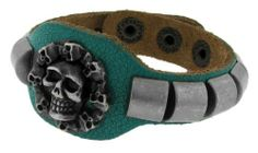 "Genuine Teal Colored Distressed Leather with Brushed Silver Tone Skulls Center and Large Plate Accents 7-8.5"" Adjustable Bracelet Sterling Silverado. $15.99. Adjustable for a custom fit. Can be adjusted between 7-8.5"".. Genuine Leather with a Distressed Teal Coating. 302532-A. Unique and Bold. Brushed Silver Tone Brass Skulls and Large Plate Accents. Save 27% Off!"