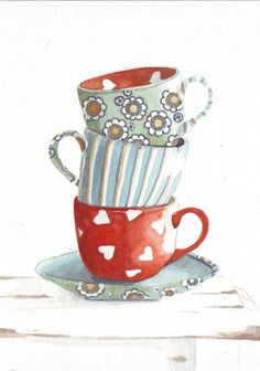 Original watercolor painting tea cups hearts red blue by HelgaMcL http://etsy.me/XneZD1