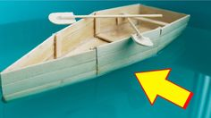 How to Make a Boat with Popsicle Sticks - Handmade - DIY Crafts - Creati. Boat Crafts, Diy Home Crafts, Crafts To Make, Easy Crafts, Make A Boat, Build Your Own Boat, Diy Boat, Popsicle Stick Crafts, Craft Stick Crafts