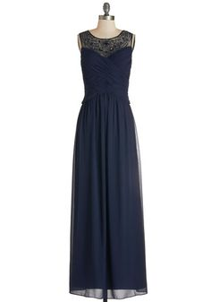 Glitz and Glimmer Dress. Youre sure to turn heads in this navy maxi dress when you step into tonights party! #gold #prom #modcloth