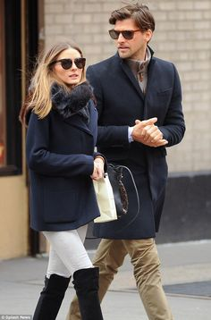 Bundled up: Olivia Palermo and her fiance Johannes Huebl stepped out for brunch on Sunday wearing layers to combat the New York City cold