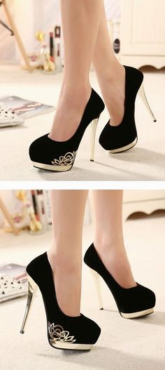 Black High Heels Fashion Shoes