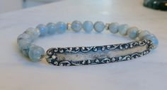 Vintage Luggage Tag Peruvian Opal Ammonite Karen Hill Tribe Silver Bracelet Beach Stretch Stack by myvintageblooms on Etsy