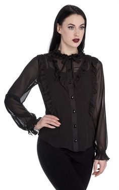 Spin Doctor Gothic Demetria Blouse Beautiful Gothic blouse from Spin Doctor! This lovely black chiffon blouse features traditional ruffles on the cuffs, neckline, and running either side of the gem styl. Gothic Outfits, Vintage Style Outfits, Victorian Shirt, Black Chiffon Blouse, Spin Doctors, Rockabilly Outfits, Flutter Sleeve Top, Blouse Vintage, Alternative Fashion