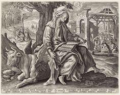 Johannes Wierix   Evangelist Lucas, Johannes Wierix, Maerten de Vos, 1585   De evangelist Lucas schrijft zijn evangelie onder een boom. Hij zit op de gevleugelde os. Links op de achtergrond de kruisiging van Christus en de twee misdadigers. Maria en anderen treuren aan de voet van het kruis. Rechts op achtergrond de aanbidding van het Christuskind door de herders. En nog meer naar achter de verkondiging aan de herders. In de marge een vierregelig onderschrift, in twee kolommen, in het…