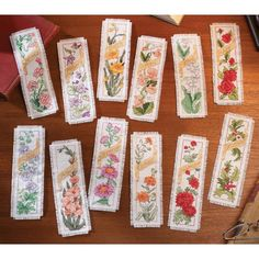 """Flowers Of The Month Bookmarks Counted Cross Stitch Kit-2.25""""X7.75"""" 14 Count Set Of 12"""