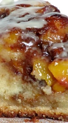 Vanilla Peach Coffee Cake: Melts in your mouth. if you are a peach fan or not, everyone loves this coffee cake! Great for a brunch or baby shower. Just Desserts, Delicious Desserts, Dessert Recipes, Yummy Food, Food Cakes, Cupcake Cakes, Peach Coffee Cakes, Gateaux Cake, Let Them Eat Cake