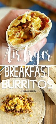 Air Fryer Breakfast Burritos are so quick & easy to make. Loaded with scrambled … Air Fryer Breakfast Burritos are so quick & easy to make. Loaded with scrambled eggs, ground sausage, bacon & cheese. A great way to start the day. Air Fryer Recipes Appetizers, Air Fryer Recipes Snacks, Air Fryer Recipes Low Carb, Air Fryer Recipes Breakfast, Air Frier Recipes, Air Fryer Dinner Recipes, Snack Recipes, Airfryer Breakfast Recipes, Meat Recipes
