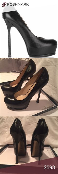 YSL Tribtoo 105 Black Pumps Authentic YSL pumps. Worn once. Very good condition. One minor scuff not noticeable. Minimal wearing on soles. The site doesn't allow many pics so if you would like to see more please contact me. Yves Saint Laurent Shoes Heels