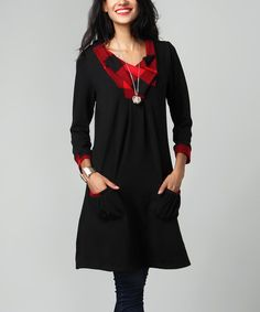 Look what I found on #zulily! Black & Red Plaid Shawl Collar Pocket Tunic Dress #zulilyfinds