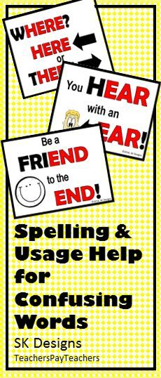 Posters and flash cards to reference for help with confusing words!