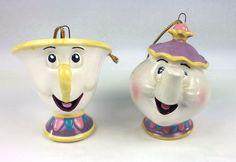 Schmid Disney Beauty and the Beast Mrs Potts Chip Porcelain Christmas Ornaments #SchmidDisney
