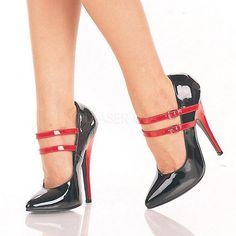 Black/Red Pat Double Strap Mary Jane Style Pumps, Valentine's Day Shoes