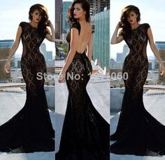 Mermaid Scoop Cap Sleeve Court Train Open Back Black Lace Sexy Long Evening Dress $149.00