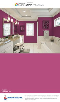 I found this color with ColorSnap® Visualizer for iPhone by Sherwin-Williams: Exuberant Pink (SW 6840).