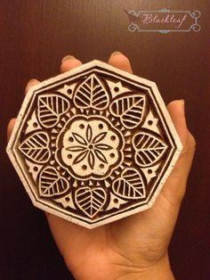 Wood Block Printing Hand Carved Indian Wood Textile Block Stamp Flower Motif