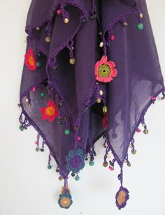 90x90 cm 36x36 inc soft cotton, square scarf The bead and lace materials handiwork made as flowers with crochet needle Usable as bandana or