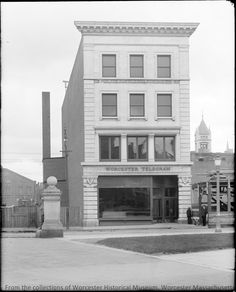 The Worcester Telegram Building on Franklin Street, c.1920, Photograph by E.B. Luce  Want a copy of this photo?  >Visit our rights and reproductions page and use this information to identify the photo: Luce Neg #84.