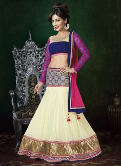 Chitrangada Singh Beige And Pink Fancy Designer Lehenga Choli.Is Designed Georgette Lehenga With Embroidery N Zari Lace Work Belt And Border.Available With Matching Pure Chiffon Dupatta And Blue Color Velvet Blouse With Net N Embroidery Work Neck With Net Gold Lehenga, Bollywood Lehenga, Bridal Lehenga Choli, Indian Lehenga, Indian Bollywood, Bollywood Fashion, Indian Saris, Bollywood Style, Indian Wedding Outfits