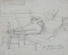 """"""" Young man resting"""" Wilhelm Ferdinand Bendz Date: : ca. 1830"""