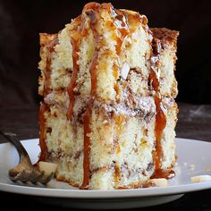 What in the name of apple cinnamon heaven?! Get the recipe for Apple-Cinnamon Layer Cake with Gooey Caramel Drizzle by clicking the link in our profile.