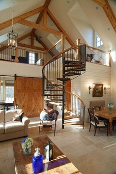 Innovative-Spiral-Stairs-trend-Nashville-Traditional-Living-Room-Remodeling-ideas-with-barn-door-black-banister-chairs-coffee-table-dining-table-loft-neutral-colors-open-concept.jpg (660×990)