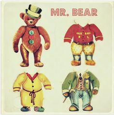 Mr. Bear Vintage Paper Doll