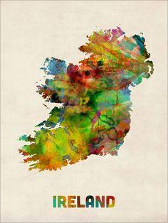 Irlande carte aquarelle Art Print 438 par artPause sur Etsy