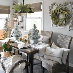 GET BEAUTIFUL HOLIDAY HOME LOOKS LIKE THIS TODAY @ PIER 1! Kubu dining chair. #christmasdecor *affiliate