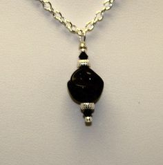 Black Twisted Bead Charm Necklace  Black by SunsetJewelsCo on Etsy