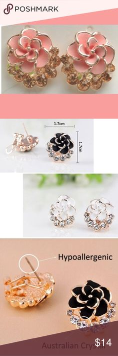 Pink Floral Crystal Stud Earrings New! Gorgeous floral earring studs in light pink. Made with Australian crystals and alloy based. •Hook enclosure• hypoallergenic•Perfect for casual to classy! 💫 Jewelry Earrings