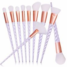 10 unids/set Hilo Mango Rainbow Unicorn pinceles de Maquillaje de Belleza Cosméticos Fundación Blending Blush maquillaje herramienta Pincel Kit Set(China (Mainland))
