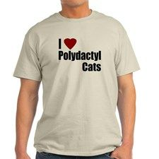 I Love Polydactyl Cats Ash Grey T-Shirt for