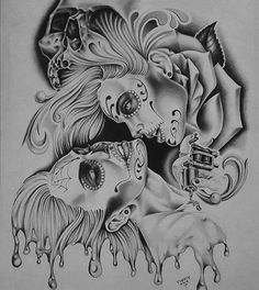 Best Tattoos for Women Lettrage Chicano, Chicano Tattoos, Sugar Skull Tattoos, Sugar Skull Art, Gangsta Tattoos, Sugar Skulls, Lowrider Tattoo, Lowrider Art, Day Of Dead Tattoo