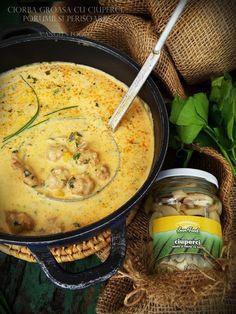 Angel's food: Ciorba groasa cu ciuperci, porumb și perisoare Romanian Food, Cheeseburger Chowder, Bacon, Treats, Cooking, Soups, Food, Sweet Like Candy, Kitchen