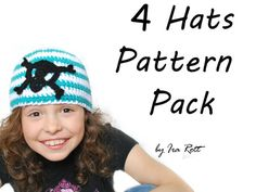 Four Hat Pack PDF Crochet Patterns ( choose any 4 hat patterns )  $20.00 CAD