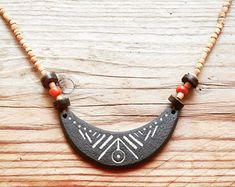 African necklace, Tribal necklace, Ceramic jewelry, Ethnic jewelry, Moon necklace, Witch jewelry, Southwest jewelry, homemade jewelry, Gift -    Edit Listing  - Etsy