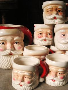Vintage Set of Santa Mugs and Pitcher  Vintage by wilshepherd, $64.00