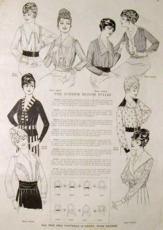 lovely softly tailored blouses from New Idea Quarterly, Summer 1918 | via Festive Attyre