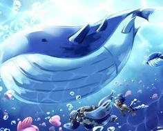 wailord wailmer luvdisc tirtouga underwater pokemon illustration
