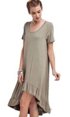 Morrison Oversized Tee Hi Low Ruffle Bottom Tunic Dress  Olive